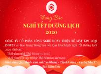 Thông báo lịch nghỉ Tết Dương Lịch 2020